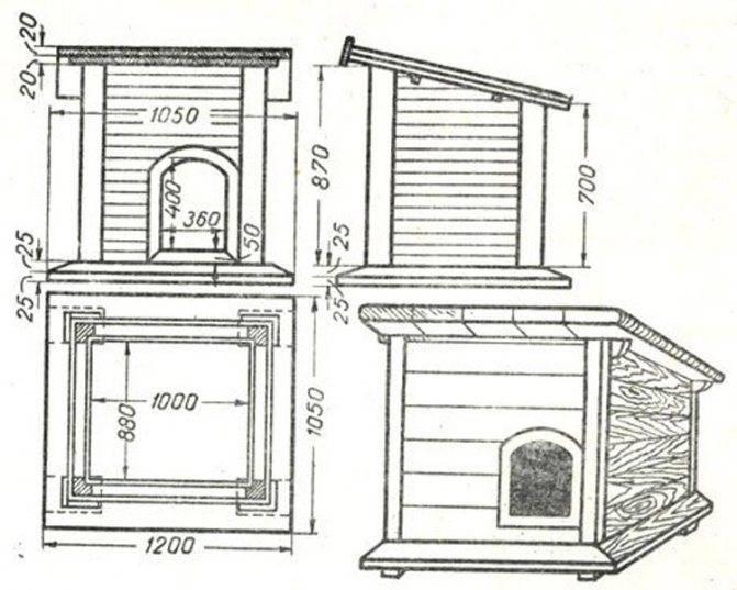 Как сделать будку для немецкой овчарки: схема, чертеж, размеры