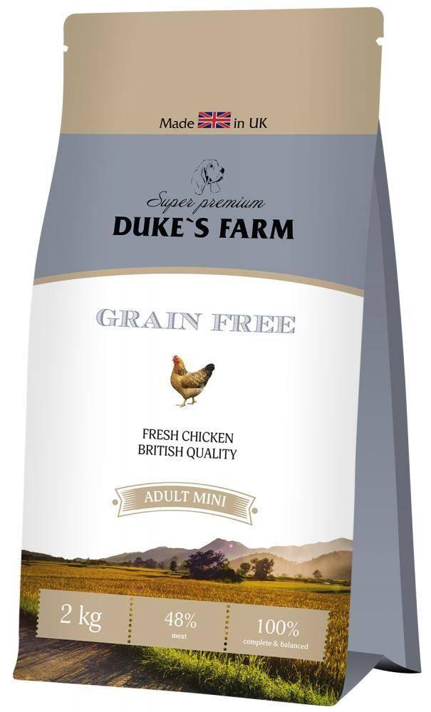 Особенности готовых кормов для собак от фирмы dukes farm с описанием состава