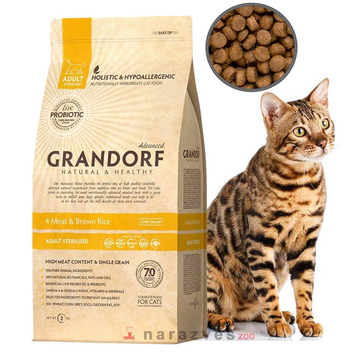 Корм грандорф для кошек – где производят, состав, основные виды питания и норма