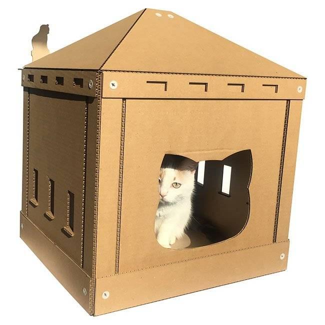 Домик для кошки из картонной коробки своими руками: простые, многоярусные или утепленные домики