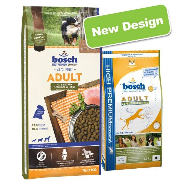 Виды корма для собак bosch