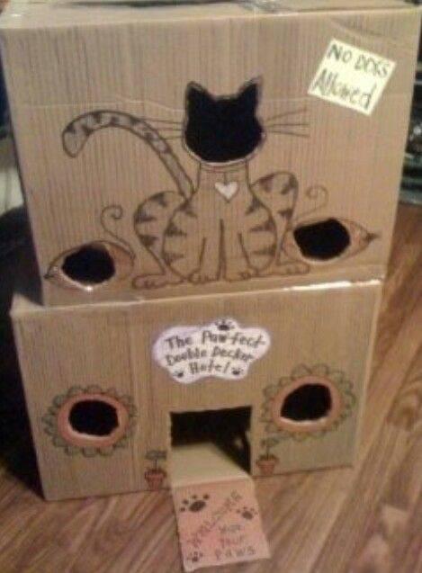 Как сделать домик для кошки из картонной коробки своими руками?