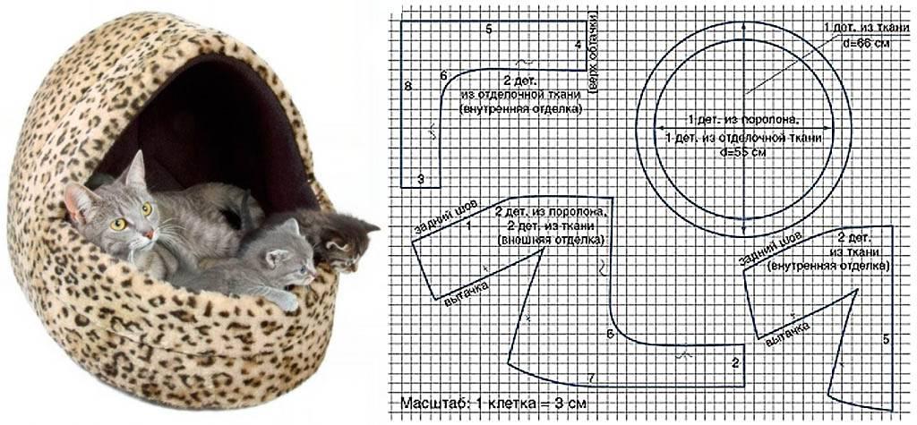 Лежанка для кошки своими руками: выкройка, как сшить лежак с бортом