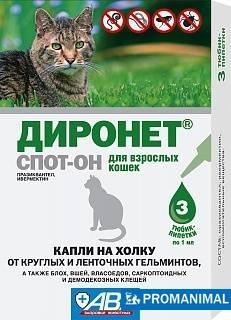 Диронет спот-он для кошек - инструкция, отзывы, цена | сайт «мурло»
